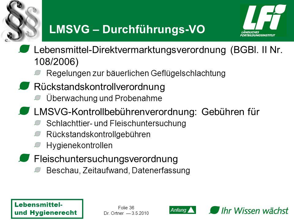 Lebensmittel- und Hygienerecht Folie 36 Dr. Ortner 3.5.2010 Anfang Lebensmittel-Direktvermarktungsverordnung (BGBl. II Nr. 108/2006) Regelungen zur bä