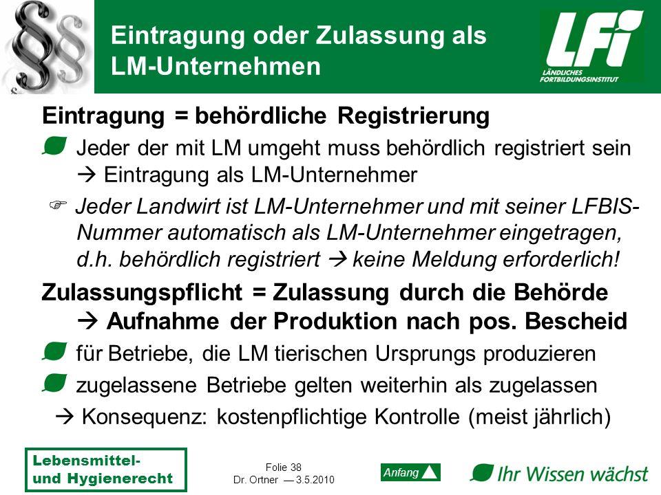 Lebensmittel- und Hygienerecht Folie 38 Dr. Ortner 3.5.2010 Anfang Eintragung = behördliche Registrierung Jeder der mit LM umgeht muss behördlich regi