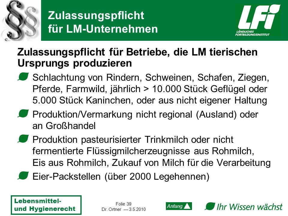 Lebensmittel- und Hygienerecht Folie 39 Dr. Ortner 3.5.2010 Anfang Zulassungspflicht für Betriebe, die LM tierischen Ursprungs produzieren Schlachtung