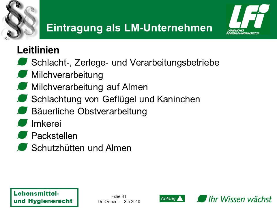 Lebensmittel- und Hygienerecht Folie 41 Dr. Ortner 3.5.2010 Anfang Leitlinien Schlacht-, Zerlege- und Verarbeitungsbetriebe Milchverarbeitung Milchver