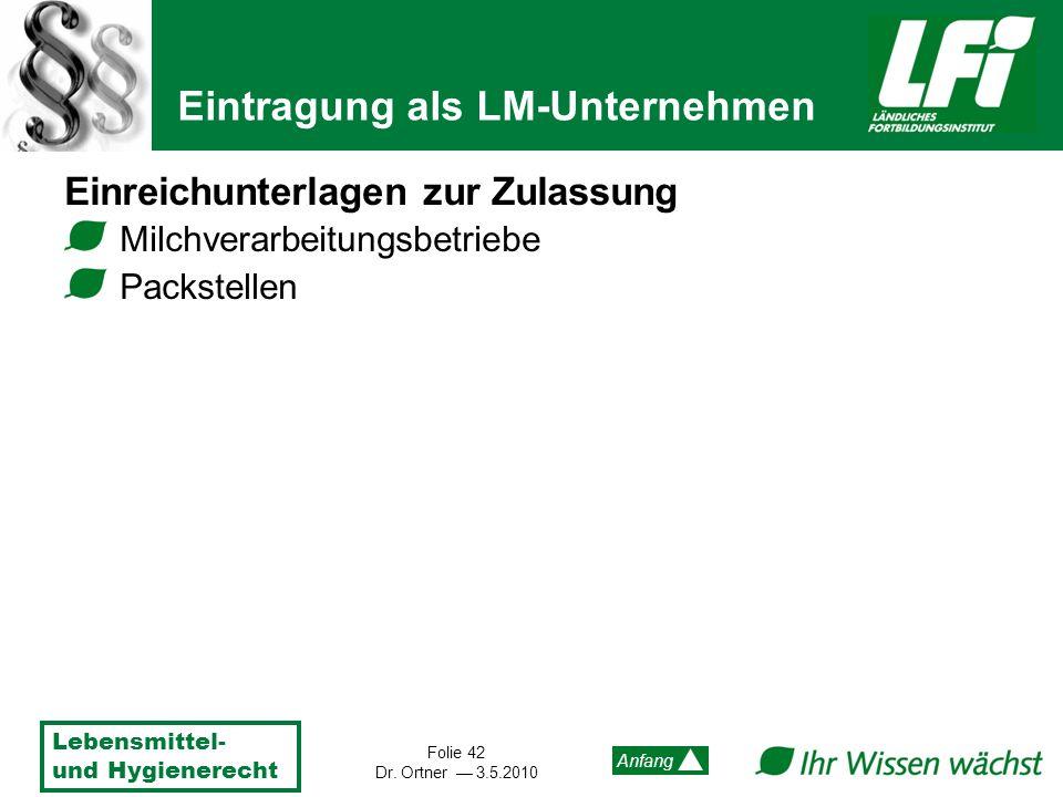 Lebensmittel- und Hygienerecht Folie 42 Dr. Ortner 3.5.2010 Anfang Einreichunterlagen zur Zulassung Milchverarbeitungsbetriebe Packstellen Eintragung