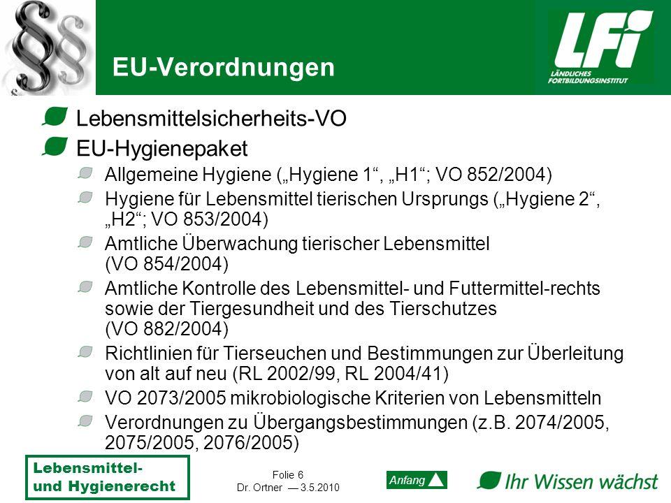 Lebensmittel- und Hygienerecht Folie 6 Dr. Ortner 3.5.2010 Anfang EU-Verordnungen Lebensmittelsicherheits-VO EU-Hygienepaket Allgemeine Hygiene (Hygie