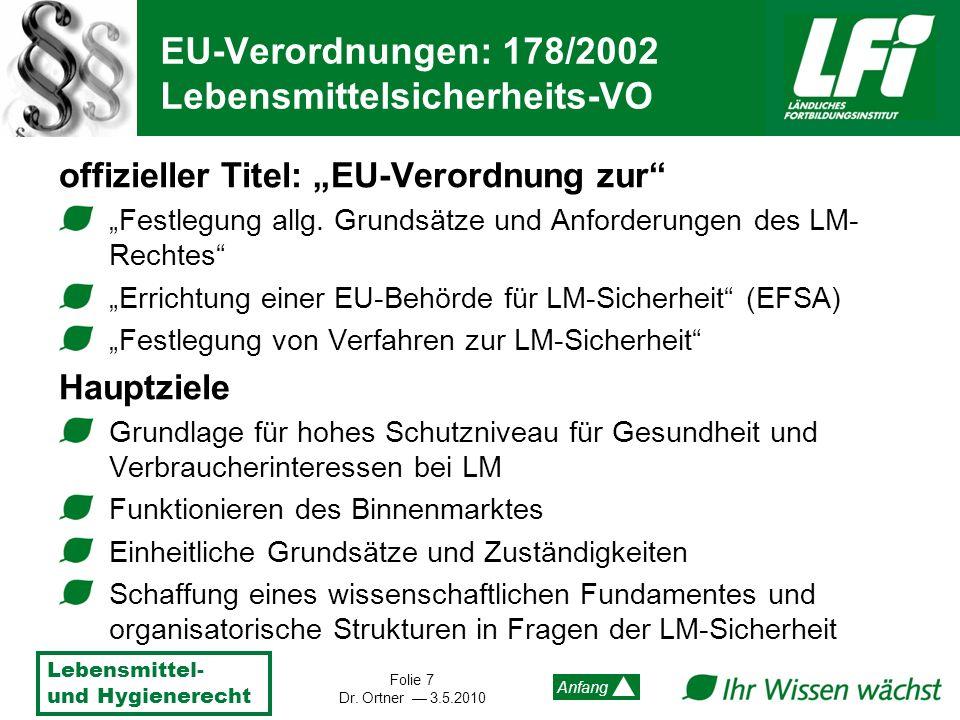 Lebensmittel- und Hygienerecht Folie 7 Dr. Ortner 3.5.2010 Anfang EU-Verordnungen: 178/2002 Lebensmittelsicherheits-VO offizieller Titel: EU-Verordnun