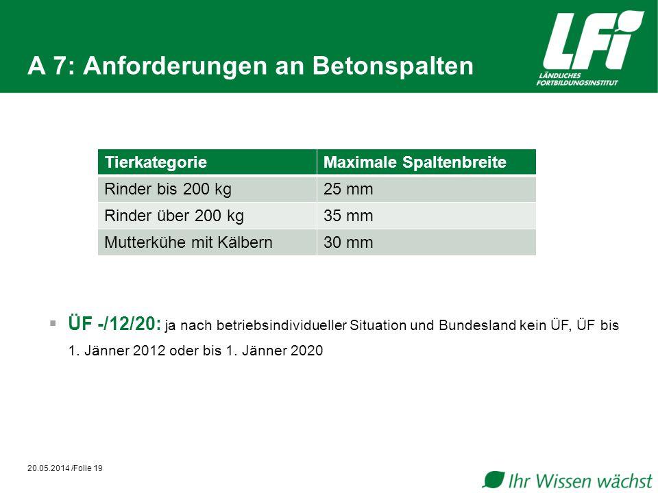 A 7: Anforderungen an Betonspalten 20.05.2014 /Folie 19 ÜF -/12/20: ja nach betriebsindividueller Situation und Bundesland kein ÜF, ÜF bis 1. Jänner 2