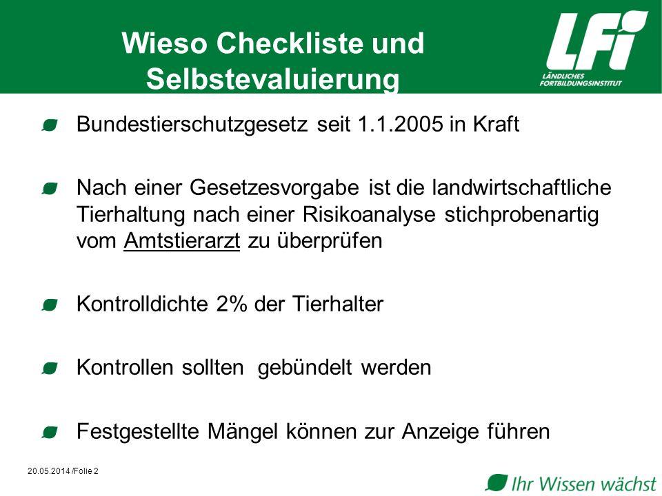 Wieso Checkliste und Selbstevaluierung Ab 1.1.