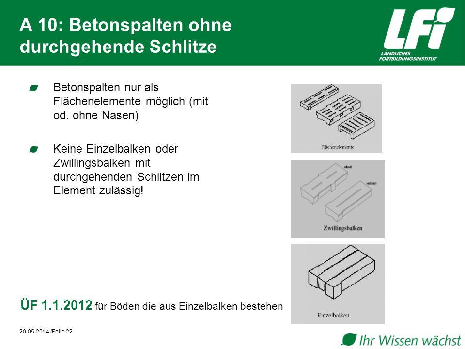 A 10: Betonspalten ohne durchgehende Schlitze Betonspalten nur als Flächenelemente möglich (mit od. ohne Nasen) Keine Einzelbalken oder Zwillingsbalke
