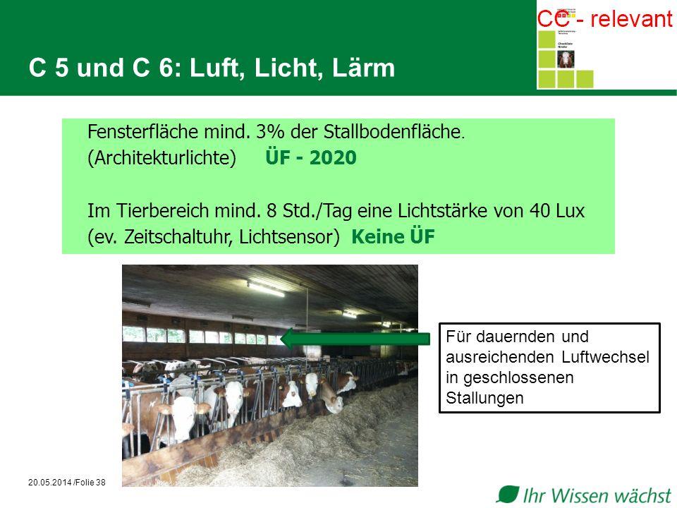 C 5 und C 6: Luft, Licht, Lärm 20.05.2014 /Folie 38 Fensterfläche mind. 3% der Stallbodenfläche. (Architekturlichte)ÜF - 2020 Im Tierbereich mind. 8 S