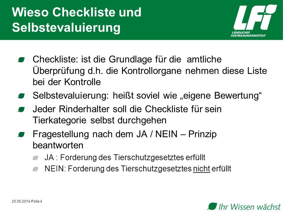 Wieso Checkliste und Selbstevaluierung Checkliste: ist die Grundlage für die amtliche Überprüfung d.h. die Kontrollorgane nehmen diese Liste bei der K