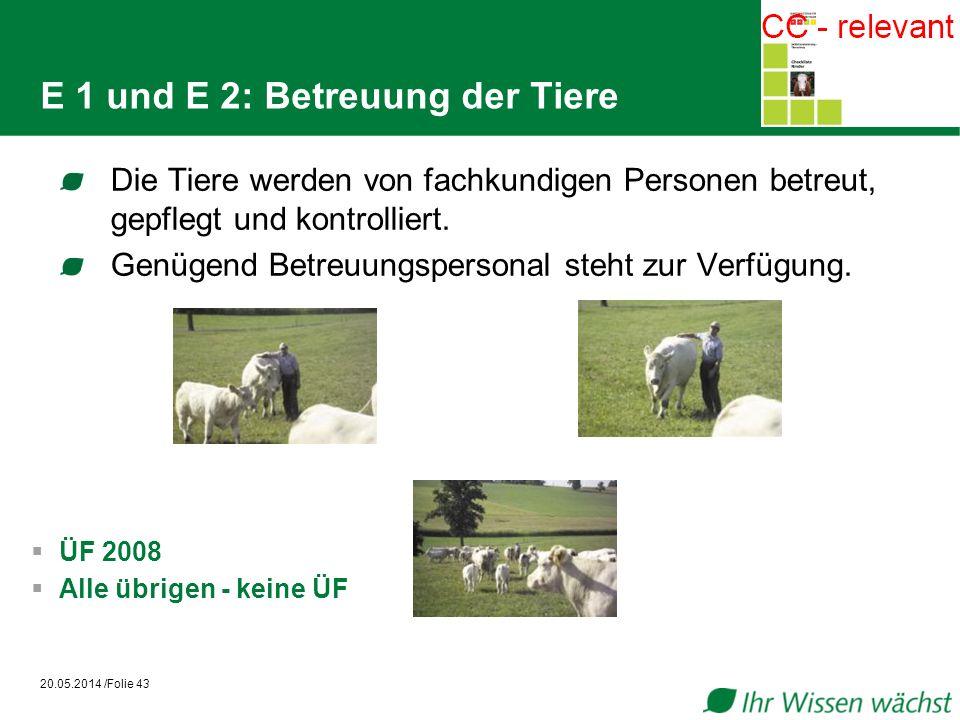 E 1 und E 2: Betreuung der Tiere Die Tiere werden von fachkundigen Personen betreut, gepflegt und kontrolliert.