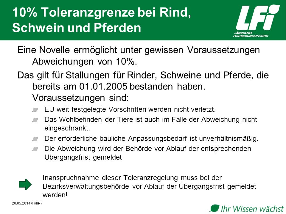 10% Toleranzgrenze bei Rind, Schwein und Pferden 20.05.2014 /Folie 7 Eine Novelle ermöglicht unter gewissen Voraussetzungen Abweichungen von 10%. Das