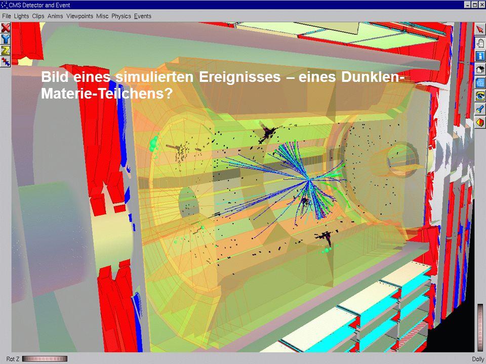 Bild eines simulierten Ereignisses – eines Dunklen- Materie-Teilchens?