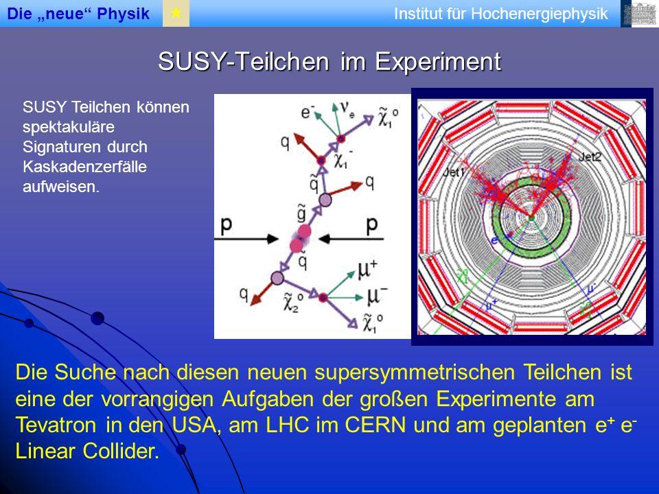 Institut für Hochenergiephysik SUSY-Teilchen im Experiment Die Suche nach diesen neuen supersymmetrischen Teilchen ist eine der vorrangigen Aufgaben der großen Experimente am Tevatron in den USA, am LHC im CERN und am geplanten e + e - Linear Collider.