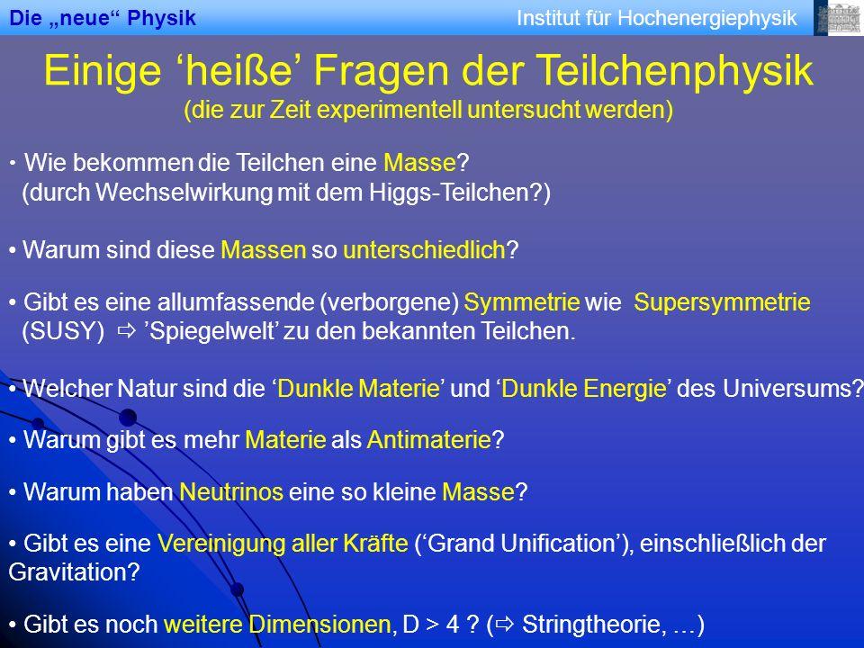 Institut für Hochenergiephysik Einige heiße Fragen der Teilchenphysik (die zur Zeit experimentell untersucht werden) Wie bekommen die Teilchen eine Masse.