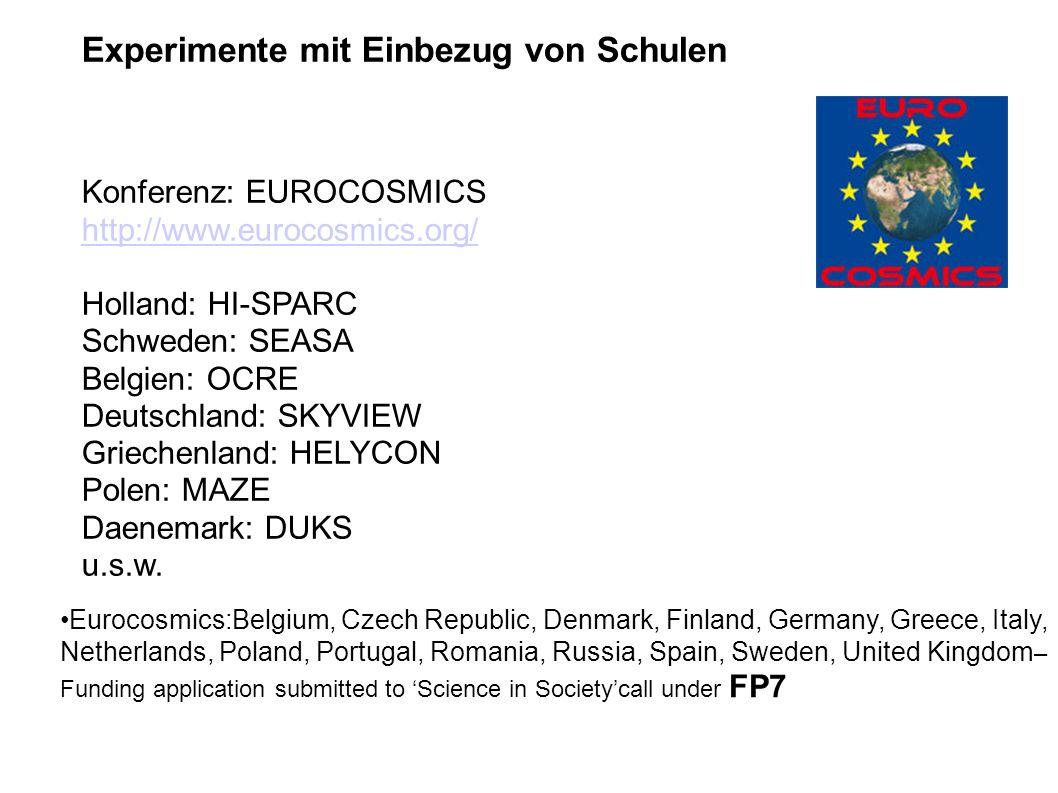 Experimente mit Einbezug von Schulen Konferenz: EUROCOSMICS http://www.eurocosmics.org/ Holland: HI-SPARC Schweden: SEASA Belgien: OCRE Deutschland: SKYVIEW Griechenland: HELYCON Polen: MAZE Daenemark: DUKS u.s.w.
