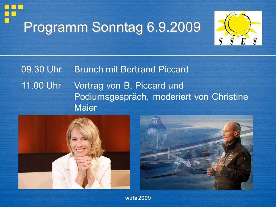 wufa 2009 Programm Sonntag 6.9.2009 09.30 UhrBrunch mit Bertrand Piccard 11.00 UhrVortrag von B.