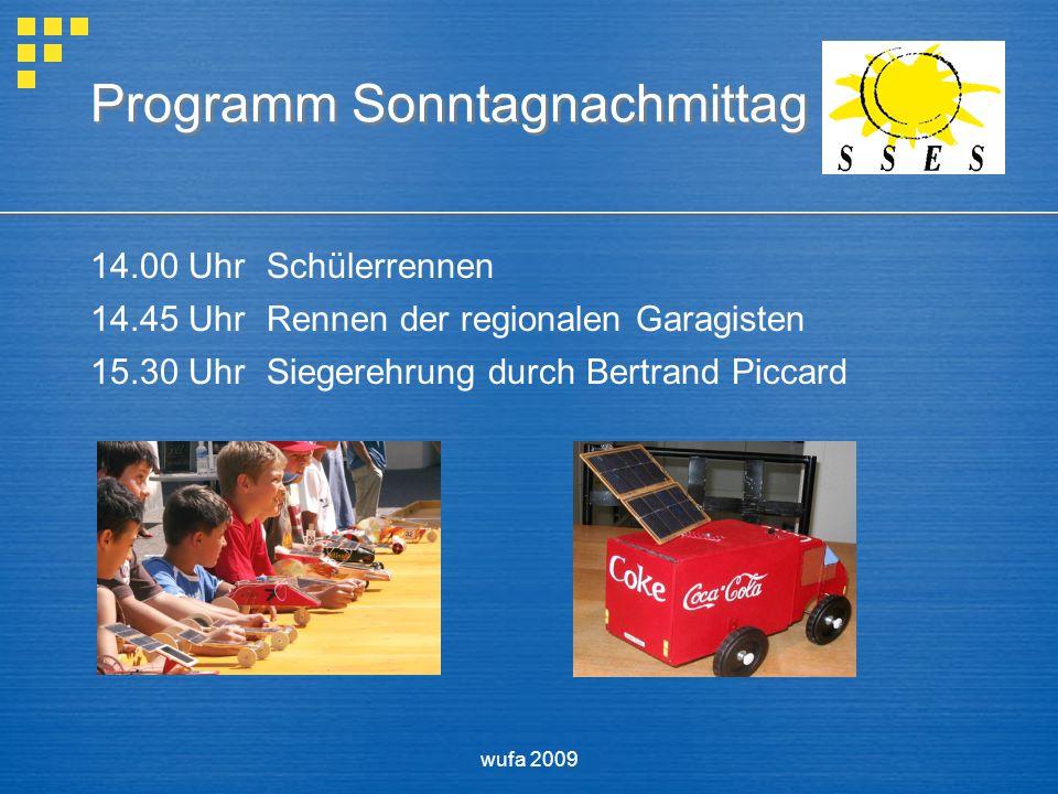 wufa 2009 Programm Sonntagnachmittag 14.00 UhrSchülerrennen 14.45 UhrRennen der regionalen Garagisten 15.30 UhrSiegerehrung durch Bertrand Piccard