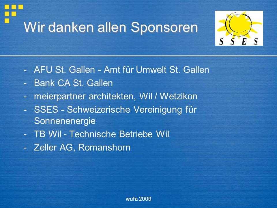 wufa 2009 Wir danken allen Sponsoren -AFU St. Gallen - Amt für Umwelt St.