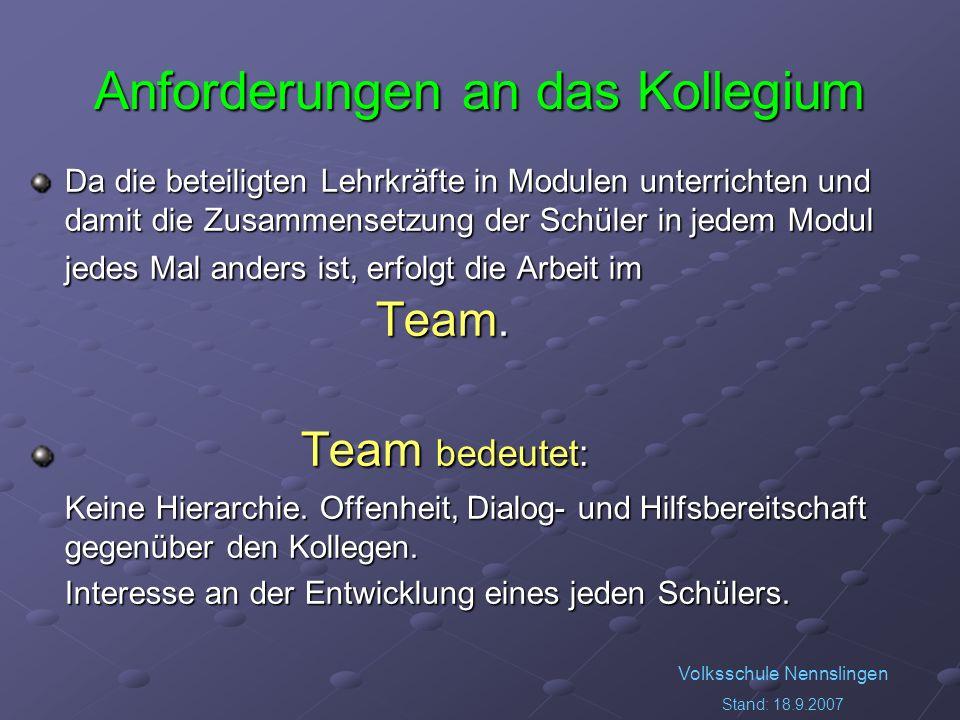 Volksschule Nennslingen Stand: 18.9.2007 Anforderungen an das Kollegium Da die beteiligten Lehrkräfte in Modulen unterrichten und damit die Zusammensetzung der Schüler in jedem Modul jedes Mal anders ist, erfolgt die Arbeit im Team.