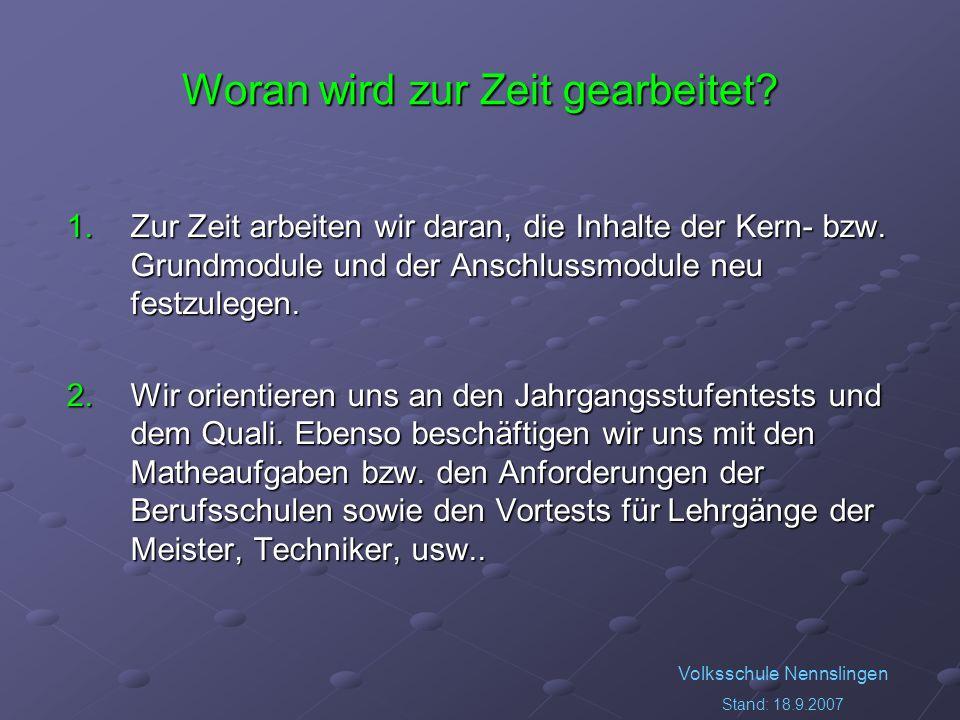 Volksschule Nennslingen Stand: 18.9.2007 Woran wird zur Zeit gearbeitet? 1.Zur Zeit arbeiten wir daran, die Inhalte der Kern- bzw. Grundmodule und der