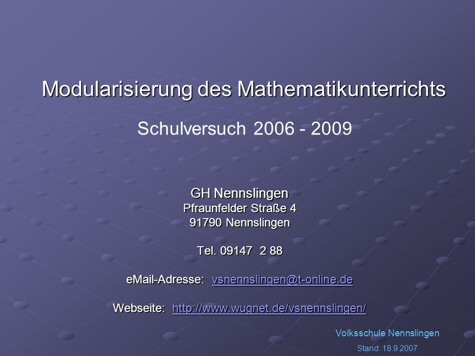 Volksschule Nennslingen Stand: 18.9.2007 GH Nennslingen Pfraunfelder Straße 4 91790 Nennslingen Tel. 09147 2 88 eMail-Adresse: vsnennslingen@t-online.