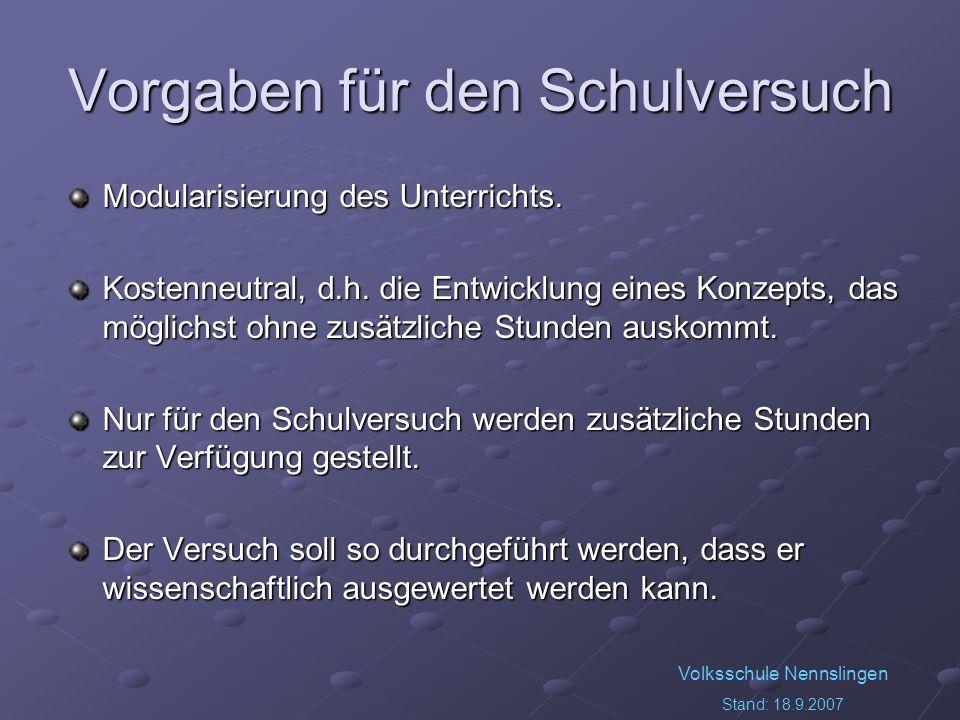 Volksschule Nennslingen Stand: 18.9.2007 Vorgaben für den Schulversuch Modularisierung des Unterrichts. Kostenneutral, d.h. die Entwicklung eines Konz