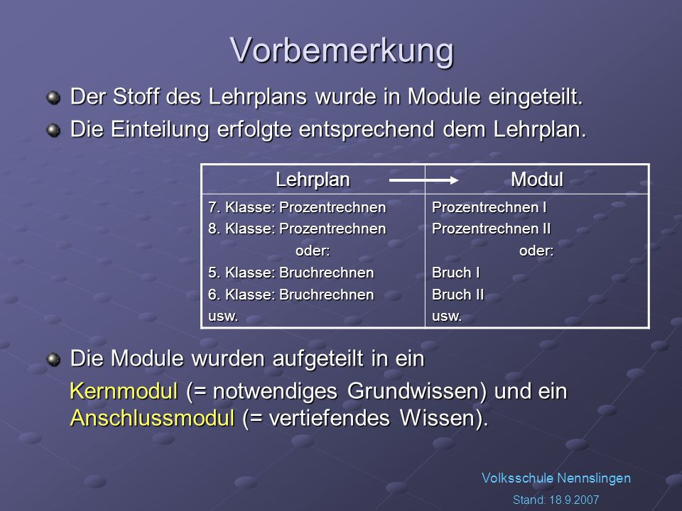 Volksschule Nennslingen Stand: 18.9.2007 Notwendige zusätzliche Arbeiten Es müssen Vortests entwickelt werden, um die Schüler in die Module einteilen zu können.