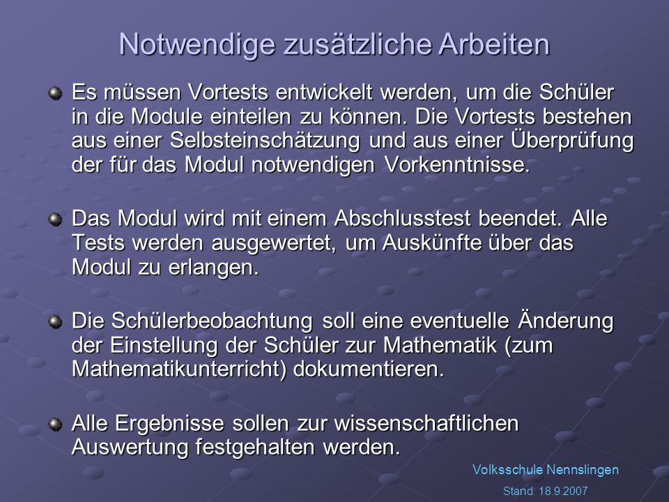 Volksschule Nennslingen Stand: 18.9.2007 Notwendige zusätzliche Arbeiten Es müssen Vortests entwickelt werden, um die Schüler in die Module einteilen