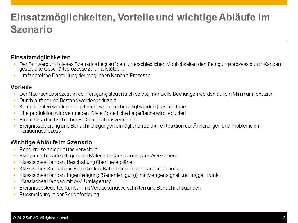 ©2012 SAP AG. All rights reserved.2 Einsatzmöglichkeiten, Vorteile und wichtige Abläufe im Szenario Einsatzmöglichkeiten Der Schwerpunkt dieses Szenar