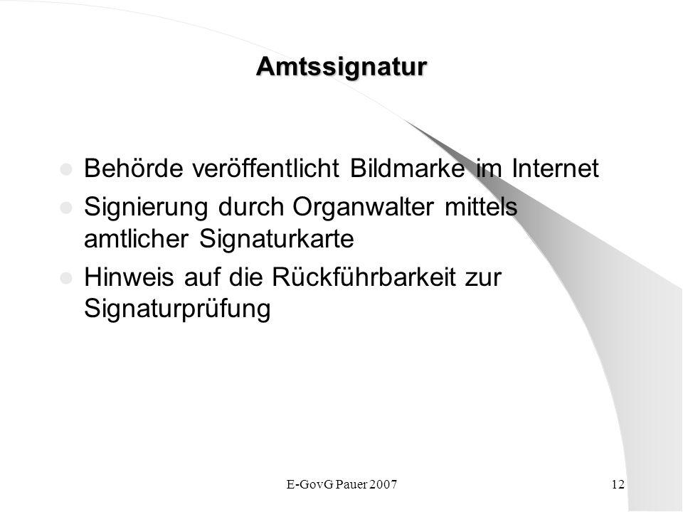 E-GovG Pauer 200712 Amtssignatur Behörde veröffentlicht Bildmarke im Internet Signierung durch Organwalter mittels amtlicher Signaturkarte Hinweis auf die Rückführbarkeit zur Signaturprüfung