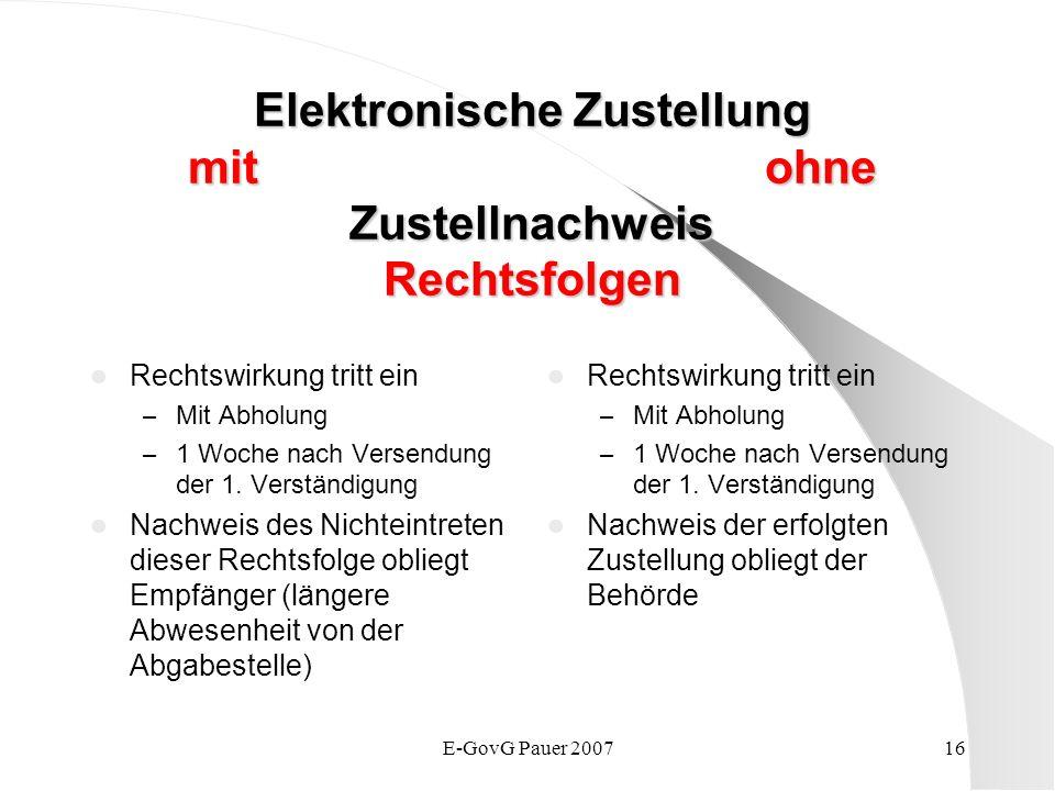 E-GovG Pauer 200716 Elektronische Zustellung mit ohne Zustellnachweis Rechtsfolgen Rechtswirkung tritt ein – Mit Abholung – 1 Woche nach Versendung der 1.