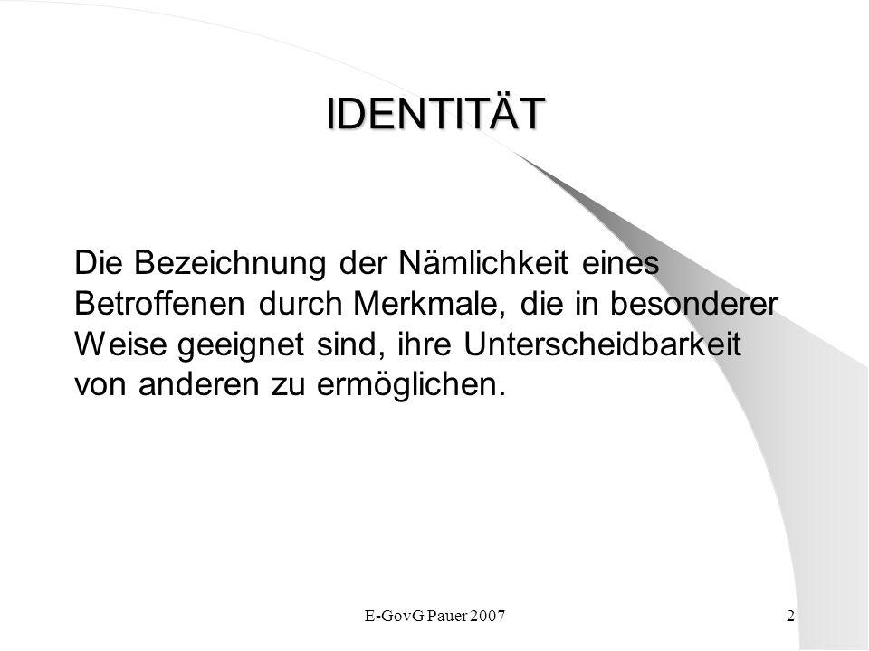 E-GovG Pauer 20073 Eindeutige Wiederholungs- Identität Unverwechselbare Unter- scheidung von allen anderen Wiedererkennbarkeit im Hinblick auf ein früheres Ereignis