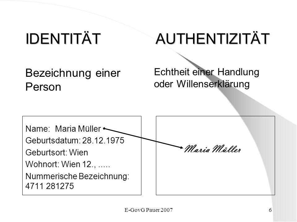E-GovG Pauer 20076 IDENTITÄT AUTHENTIZITÄT Bezeichnung einer Person Name:Maria Müller Geburtsdatum: 28.12.1975 Geburtsort: Wien Wohnort: Wien 12.,....