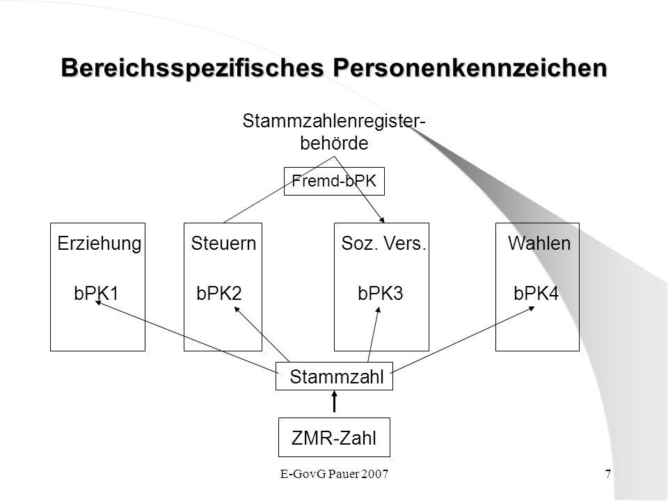 E-GovG Pauer 20077 Bereichsspezifisches Personenkennzeichen ZMR-Zahl Stammzahl ErziehungSteuernSoz. Vers.Wahlen bPK1bPK2bPK3bPK4 Stammzahlenregister-