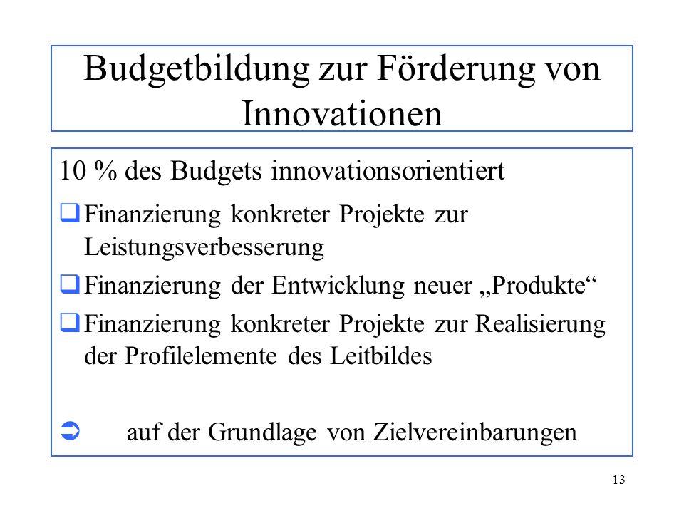 13 Budgetbildung zur Förderung von Innovationen 10 % des Budgets innovationsorientiert Finanzierung konkreter Projekte zur Leistungsverbesserung Finan