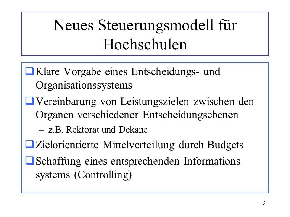3 Neues Steuerungsmodell für Hochschulen Klare Vorgabe eines Entscheidungs- und Organisationssystems Vereinbarung von Leistungszielen zwischen den Org