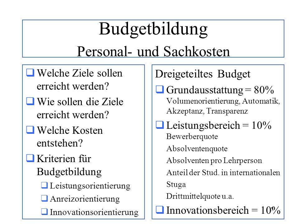 7 Budgetbildung Personal- und Sachkosten Welche Ziele sollen erreicht werden? Wie sollen die Ziele erreicht werden? Welche Kosten entstehen? Kriterien