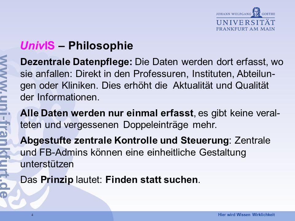 Hier wird Wissen Wirklichkeit 5 UnivIS – Highlights – 1 – Hochschulweite einheitliche Präsentation Benutzerfreundlichkeit (need-to-know-Prinzip): Jeder Benutzer sieht nur die Funktionalität, die er zur Erfüllung seiner Aufgaben benötigt.