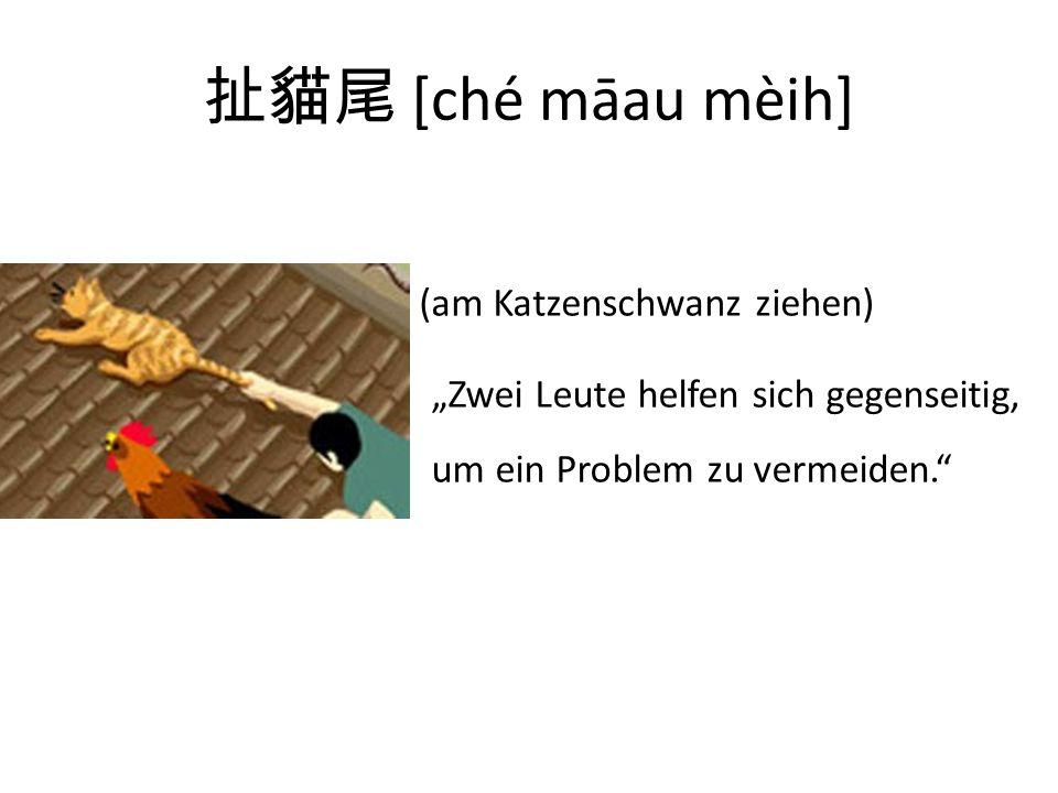 [ché māau mèih] (am Katzenschwanz ziehen) Zwei Leute helfen sich gegenseitig, um ein Problem zu vermeiden.