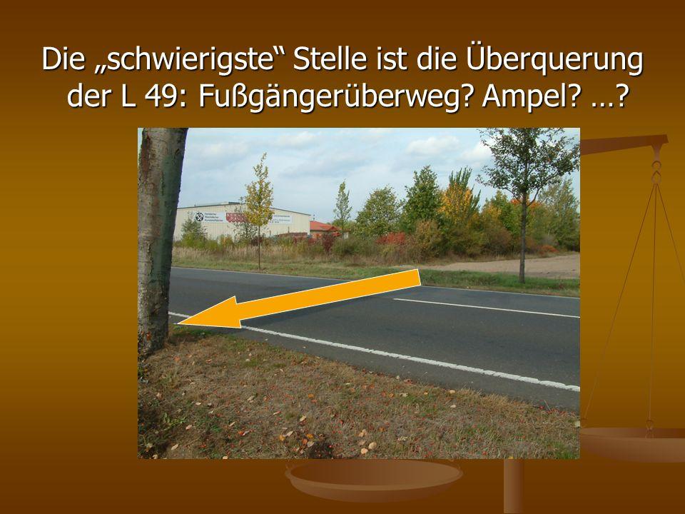 Die schwierigste Stelle ist die Überquerung der L 49: Fußgängerüberweg? Ampel? …?