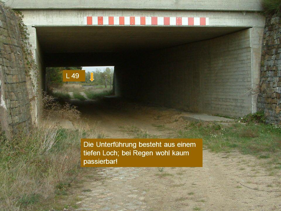Die Unterführung besteht aus einem tiefen Loch; bei Regen wohl kaum passierbar! L 49