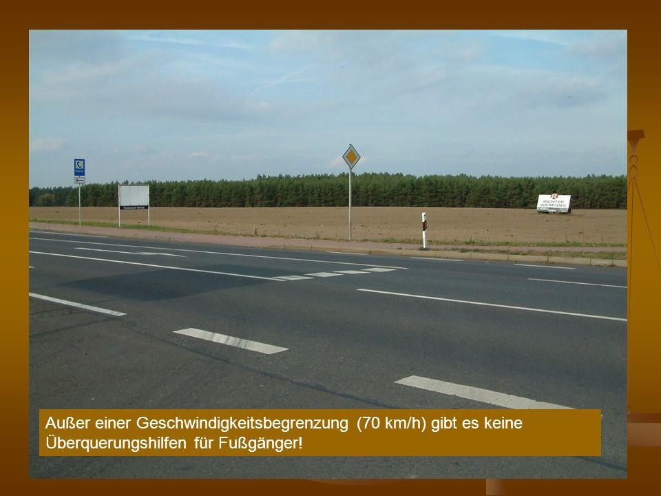 Außer einer Geschwindigkeitsbegrenzung (70 km/h) gibt es keine Überquerungshilfen für Fußgänger!