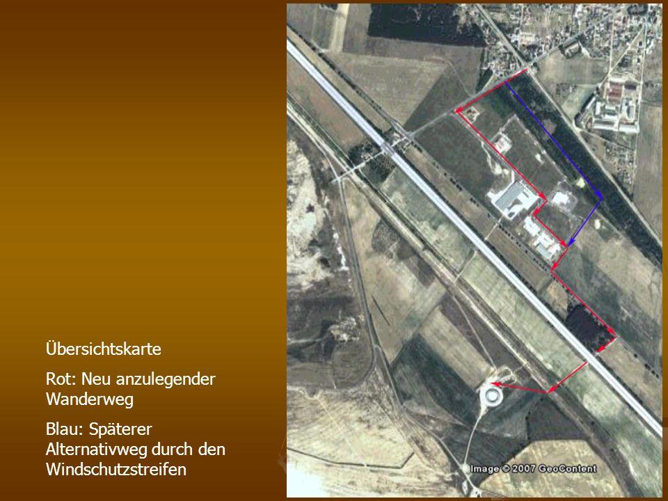 Übersichtskarte Rot: Neu anzulegender Wanderweg Blau: Späterer Alternativweg durch den Windschutzstreifen
