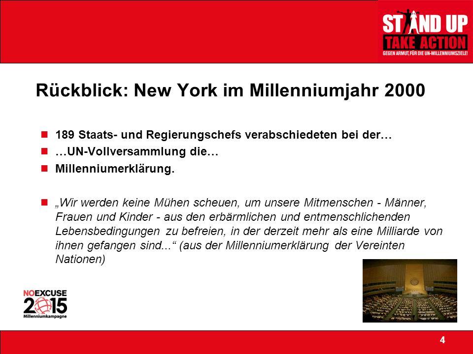 Rückblick: New York im Millenniumjahr 2000 189 Staats- und Regierungschefs verabschiedeten bei der… …UN-Vollversammlung die… Millenniumerklärung.