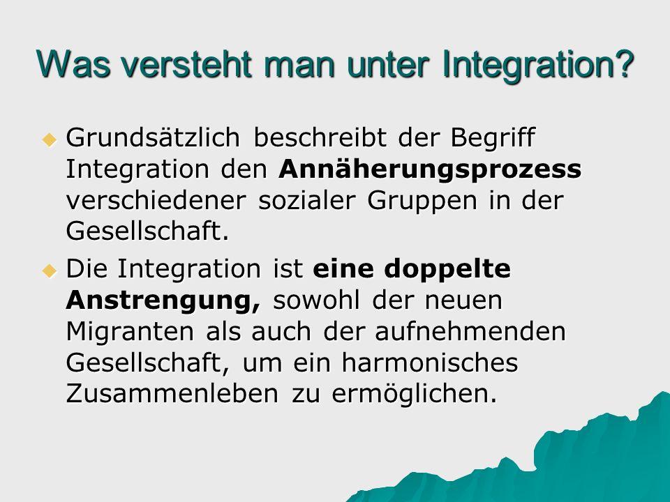 Was versteht man unter Integration? Grundsätzlich beschreibt der Begriff Integration den Annäherungsprozess verschiedener sozialer Gruppen in der Gese