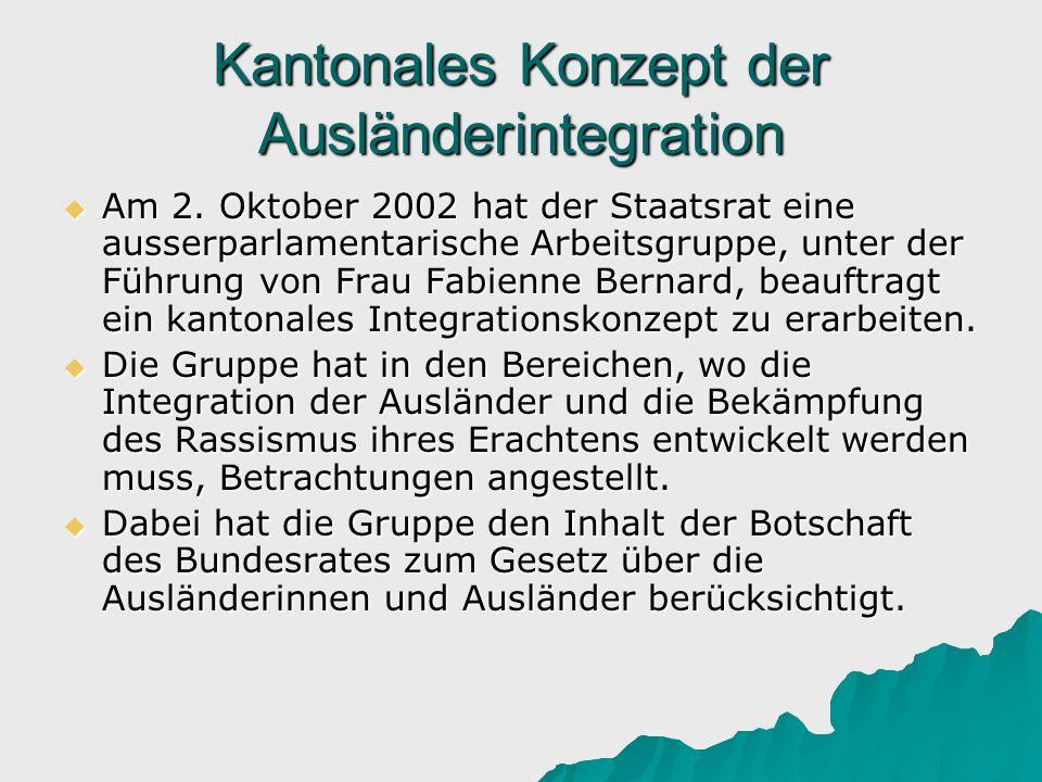 Kantonales Konzept der Ausländerintegration Am 2. Oktober 2002 hat der Staatsrat eine ausserparlamentarische Arbeitsgruppe, unter der Führung von Frau