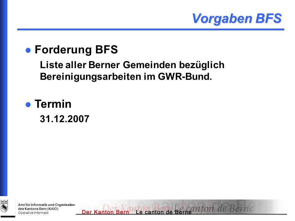 Amt für Informatik und Organisation des Kantons Bern (KAIO) Operative Informatik Vorgaben BFS Forderung BFS Liste aller Berner Gemeinden bezüglich Ber