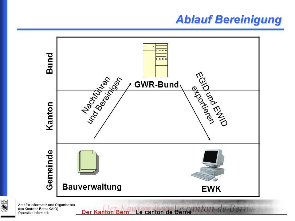 Amt für Informatik und Organisation des Kantons Bern (KAIO) Operative Informatik Ablauf Bereinigung Gemeinde Kanton Bund Nachführen und Bereinigen EGI