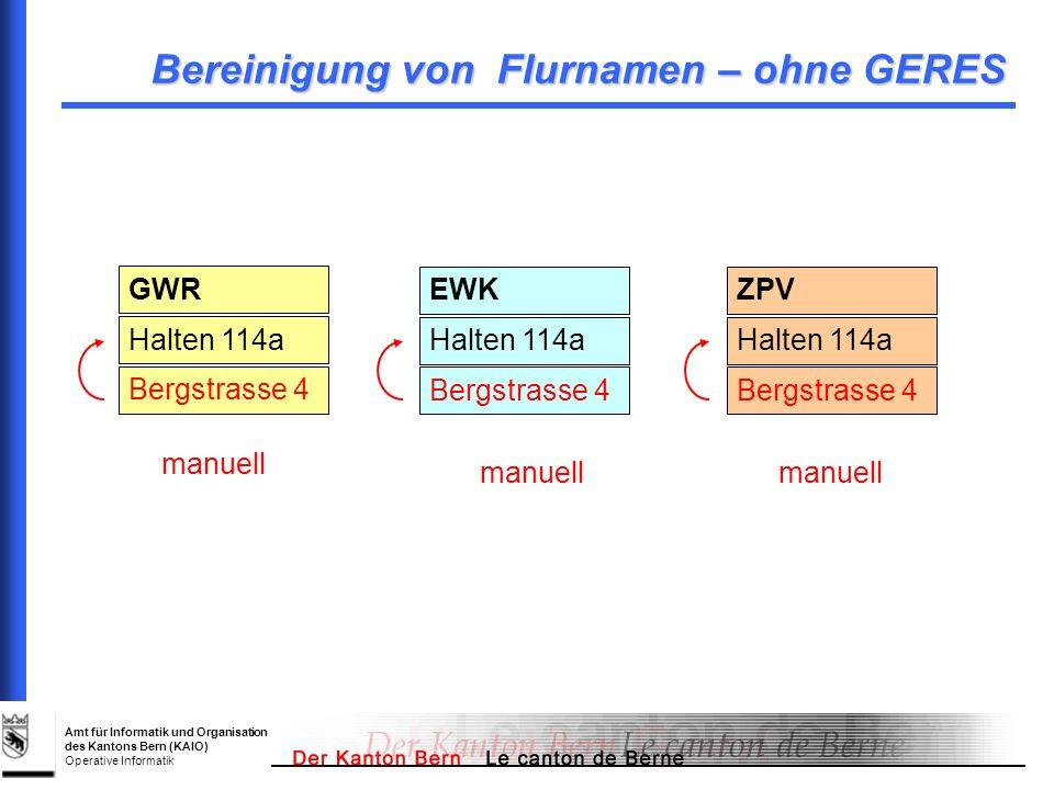 Amt für Informatik und Organisation des Kantons Bern (KAIO) Operative Informatik Bereinigung von Flurnamen – ohne GERES GWR Halten 114a Bergstrasse 4