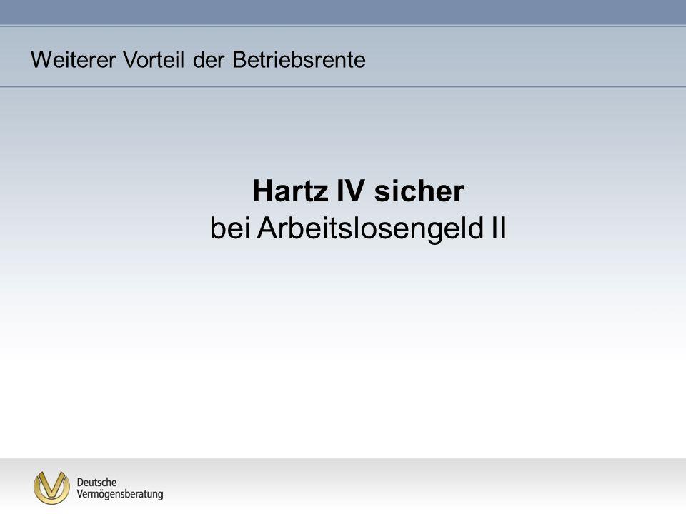 Hartz IV sicher bei Arbeitslosengeld II Weiterer Vorteil der Betriebsrente