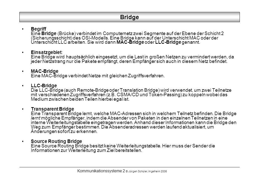 Kommunikationssysteme 2 © Jürgen Schüler, Ingelheim 2006 Bridge Begriff Eine Bridge (Brücke) verbindet im Computernetz zwei Segmente auf der Ebene der